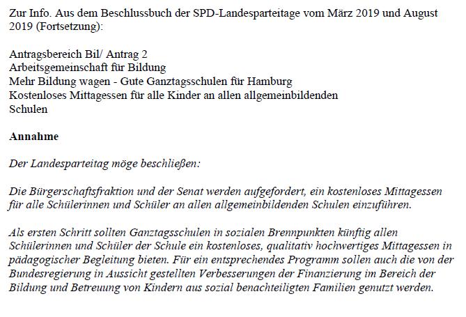 SPD Landesparteitagsbeschlüsse kostenloses Schulessen
